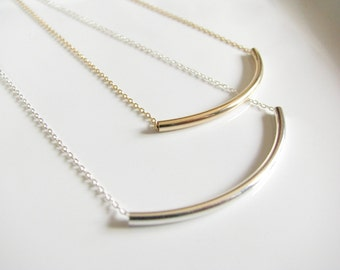 Silver Curved Tube Necklace Silver Curved Bar Necklace Silver Bar Necklace Silver Tube Necklace Sterling Silver or Gold Curved Tube Necklace