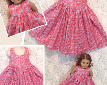 READY to SHIP * Pink & Blue Floral * PRe-MaDE Matching dress for Child sz 10 12 and American Girl, Bitty Baby