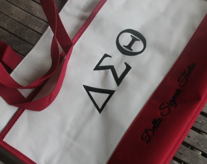 Tote Bag Personalized Monogrammed Embroidered Two Color Contemporary Shopping Beach Bag Tote/5 Colors Red Black Apple Pink Navy Tote