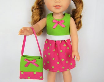 """14.5"""" Doll Clothes, 14.5 inch Doll Dress with purse, pink and limegreen doll clothes, little sister doll clothes, pink limegreen doll purse"""