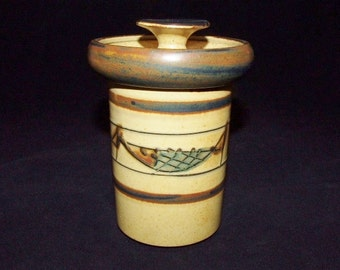 Handcrafted Covered Studio Pottery Jar w/ Etched Fish 0310