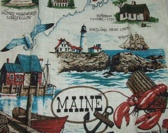 Linen Kay-Dee MAINE Souvenir Kitchen Towel    0826