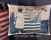 Primitive AMERICANA Pillow Grand Old Flag Shelf Sitter July 4th Cupboard Tuck