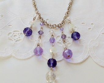 Purple Lilacs Crystal Bib Necklace