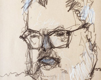 "Original Artist Self Portrait . ""Squinting in the Sun (self portrait)"" 12x18in."