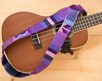 Ukulele Strap or Classical Guitar Strap- Shades of Purple Mayan Woven Trim, Adjustable neck style sling strap, Guatemala, tribal, hippie