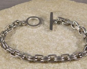 Oval and Square Stainless Steel Link Bracelet