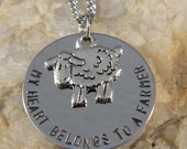 My Heart Belongs to a Farmer Handstamped Necklace with Sheep