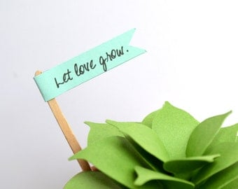 Set of 12 Mini Pennant Flags - Let Love Grow