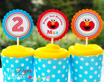 Elmo Cupcake Toppers, Elmo Birthday Party, Sesame Street Cupcake - Set of 12