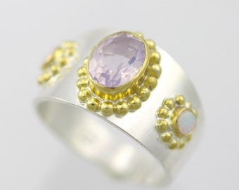 Byzantine Ring in Sterling Silver and 14ky Gold with Lavendar Quartz and Opal