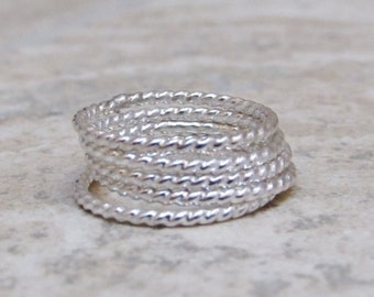 Rope Ring Super Summer Flash Sale with Free Shipping - Sterling Silver Twist Rings Stacking Rings Knuckle Rings SHIPS TODAY