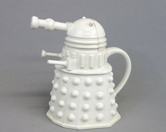 Dalek Teapot- glazed in Solid White - Ready to Ship