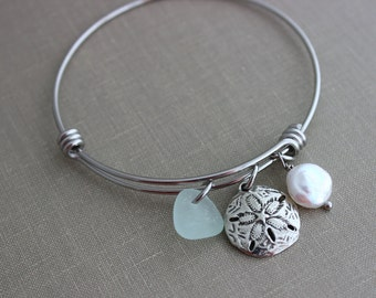 stainless steel adjustable beach bangle bracelet with pewter sand dollar charm, genuine sea glass and freshwater coin pearl, Beach jewelry
