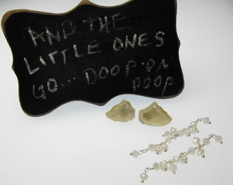 MICRO MINI GEODE 00561-627i moonstone ss chain kit celery green precious gemstone earring set tiny little baby Tabasco drusy drilled pair