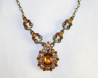 Signed Nancy And Rice Brown Rhinestone Chain Vintage Necklace