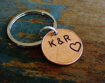 Penny Keychain,Personalized,Hand Stamped Couples Initials,Stamped Penny,Year of Choice,Penny Key Chain,1st Anniversary Gift,Husband Gift
