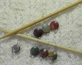 Red Creek Jasper - Knitting Stitch Markers - snag free loops - 12mm round gemstones and silver - set of 7 - two loop sizes available