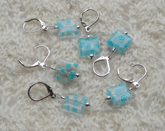 crochet knitting stitch markers - removable - turquoise flowered millefiori beads 12mm - set of 6