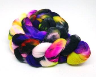 "Handpainted Superwash Targhee Wool Roving - ""Xtra Creepy"" - 4 oz Black Green Purple"