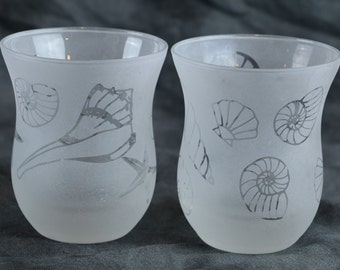 Seahells Votive or tealight Candle Holders set of 2