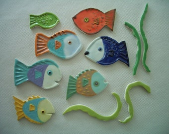 BSMB - COLORFUL FISH Tiles - Ceramic Mosaic Tiles