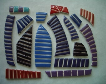 CT4 - TINY Purples, BLUES, Reds Pieces - Ceramic Mosaic Tile