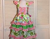 One of a Kind Sundress in Green and Pink in Size 6