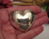 Vintage big puffed silver heart pin, shiny bright heart brooch, Valentine Day brooch, modern silver bold 3D heart pin