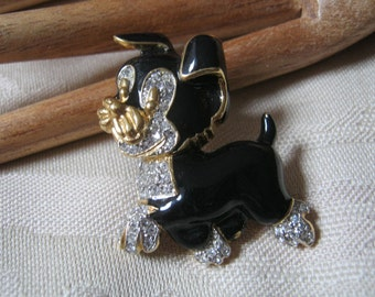 Vintage black enamel clear crystal happy puppy pin, black enamel dog brooch, dog lovers pin brooch
