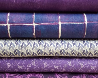 7 fat quarters in purple