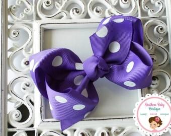 SUMMER SALE---Boutique Baby Girl Hair Bow Clip---Purple Polka Dot----