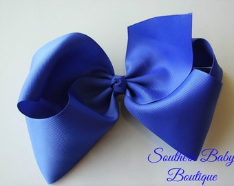 SUMMER SALE---School Cheer Bow XX-Large 7 Inch Hair Bow---Royal Blue---Ready to Ship