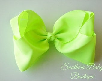 SUMMER SALE---School Cheer Bow XX-Large 7 Inch Hair Bow---Chartreuse---Ready to Ship