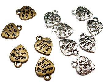 Silver/Brass MADE WITH LOVE Tiny Heart Charms