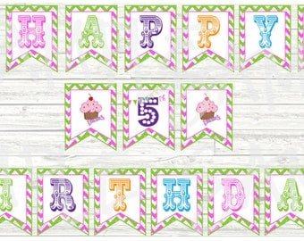 Banner, Happy Birthday, Banner Made To Match Any Theme In My Shop