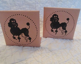 Vintage Poodle Book Ends Pink and Black faux leather