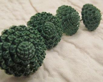 4 Vintage Drapery or Curtain Flower Pins Green