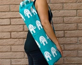 Yoga Mat Bag, handmade TEAL ELEPHANTS with drawstring, cord lock & pocket, yoga sling, yoga mat carrier, yoga sac, Yoga Tote