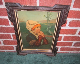 Antique Victorian Endearing Praying Girl Framed Lithographic Print