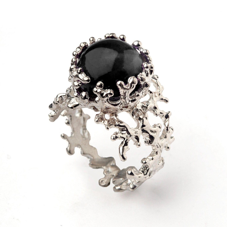 coral 14k white gold onyx ring black onyx engagement ring