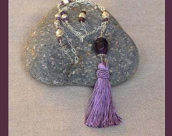 Amethyst Tassel Necklace.  Purple Silk Tassel Necklace. Silver Chain Necklace. Bohemian Chic Necklace. February Birthstone.