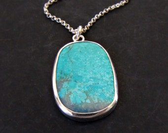 Turquoise Necklace, Sterling Silver Jewelry, Blue Stone Pendant, Bohemian Jewelry, Boho Necklace