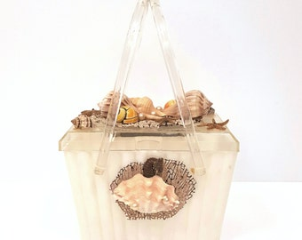 Vintage Acrylic Purse, 50s Seashell Novelty Plastic Box Purse, Vintage Summer Beach Rhinestone Rockabilly Acrylic Box Handbag