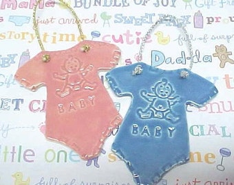 Baby Shower Gift | Clay Baby Ornament | Gender Reveal | Nursery Decor | New Baby Gift | One Piece Body Suit | Pink or Blue | Lacy Textures