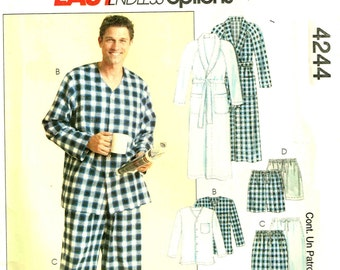 Mens Pajamas Button Up Shirt Pull-on drawstring Short, Pants and Robe McCalls 4244 Sewing Pattern Chest Size S M L 34 36 38 40 42 44