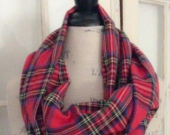 red royal stewart tartan plaid flannel cowl