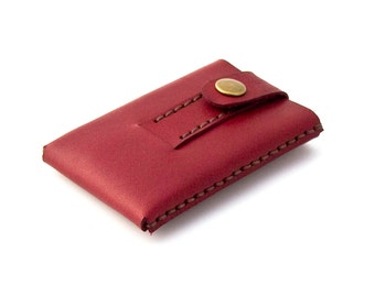 "Minimalist Leather Wallet - Mini wallet - Cardholder -""Slide""- Hand Stitched - Hand Dyed Ruby Red - FREE SHIPPING"