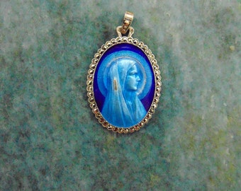 LARGE RARE Antique French Vintage Blue Guilloche Enamel and Marcasite Sterling Silver Religious Catholic Holy Virgin Mother Medal Pendant