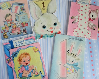 Babys First Birthday Wishes in Vintage Birthday Lot No 104 Lamb Stand Up Bunnies and Cute Babies Celebrate the First Lot of 8
